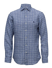 Slim Fit Linen Sport Shirt - 2641 ASTOR NAVY/W