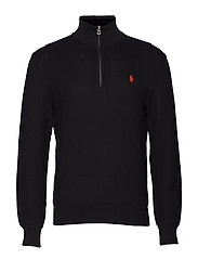 Cotton Half-Zip Sweater - BLACK