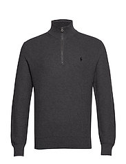 Cotton Half-Zip Sweater - DARK GREY HEATHER