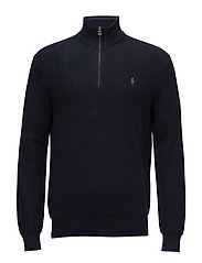 Cotton Half-Zip Sweater - NAVY HEATHER