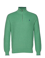 Cotton Half-Zip Sweater - PALE EMERALD HEAT