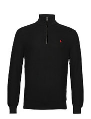 Cotton Half-Zip Sweater - POLO BLACK