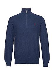 Cotton Half-Zip Sweater - RUSTIC NAVY HEATH