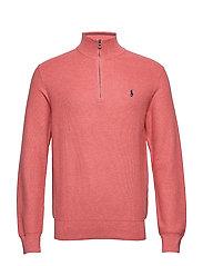 Cotton Half-Zip Sweater - SALMON HEATHER