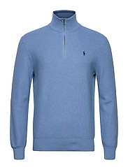 Cotton Half-Zip Sweater - SOFT ROYAL HEATHE