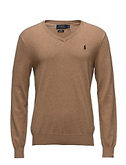 Slim Fit Cotton V-Neck Sweater - RL BROWN HEATHER