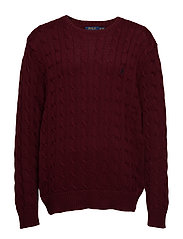Cable-Knit Cotton Sweater - CLASSIC WINE
