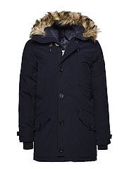 Faux Fur–Trim Down Parka - AVIATOR NAVY