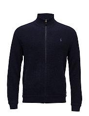 Merino Wool Full-Zip Sweater - HUNTER NAVY
