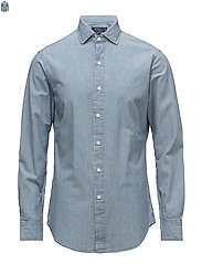 Slim Fit Indigo Chambray Shirt - LIGHT INDIGO