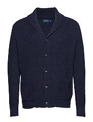 Cotton Shawl-Collar Cardigan - NAVY HEATHER