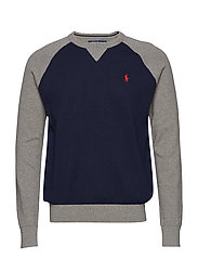 Color-Blocked Cotton Sweater - NAVY/GREY MULTI