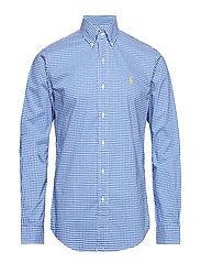 Slim Fit Gingham Cotton Shirt - 3011A COBALT/WHIT