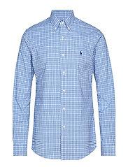 Slim Fit Gingham Cotton Shirt - 3016A POWDER/NAVY