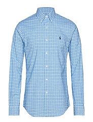 Slim Fit Gingham Cotton Shirt - 3016B CYAN/NAVY