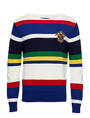 LSSTRBOATCN-LONG SLEEVE-SWEATER - WHITE MULTI STRIP