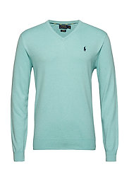 Slim Fit Cotton V-Neck Sweater - BAYSIDE GREEN HEA