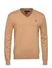 Slim Fit Cotton V-Neck Sweater - CAMEL MELANGE