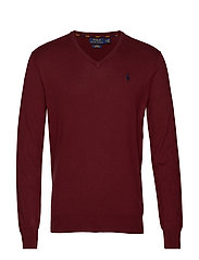 Slim Fit Cotton V-Neck Sweater - CLASSIC WINE HEAT