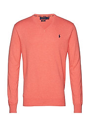 Slim Fit Cotton V-Neck Sweater - DUSTY PEACH HEATH
