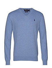 Slim Fit Cotton V-Neck Sweater - NEW CAMPUS BLUE H