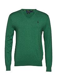 Slim Fit Cotton V-Neck Sweater - POTOMAC GREEN HEA