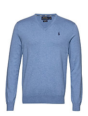 Slim Fit Cotton V-Neck Sweater - SOFT ROYAL HEATHE