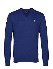 Slim Fit Cotton V-Neck Sweater - YACHT BLUE HEATHE