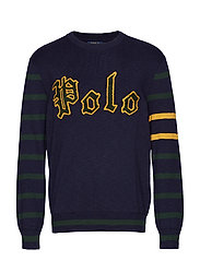 Cotton Letterman Sweater - HUNTER NAVY/FORES