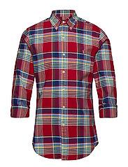 Slim Fit Plaid Oxford Shirt - 4046 RED MULTI
