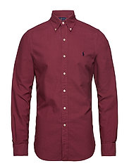 Slim Fit Cotton Oxford Shirt - AUBERGINE