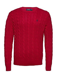 Cable-Knit Cotton Sweater - PARK AVENUE RED