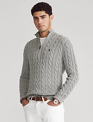 Polo Ralph Lauren - Cable-Knit Cotton Sweater - half zip - fawn grey heather - 0