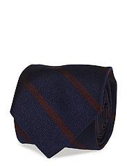 Striped Silk Twill Narrow Tie - NAVY/WINE