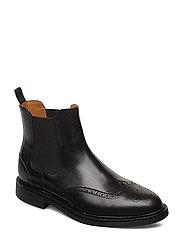 Asher Wingtip Chelsea Boot - BLACK