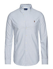 Custom Fit Cotton Oxford Shirt - BLUE/WHITE STRIPE