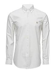 Custom Fit Cotton Oxford Shirt - WHITE