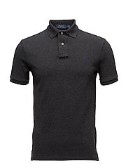 Slim Fit Mesh Polo Shirt - DARK GREY HEATHER