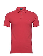 Slim Fit Mesh Polo Shirt - EVENING POST RED/