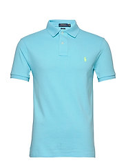 Slim Fit Mesh Polo Shirt - FRENCH TURQUOISE/