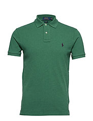 Slim Fit Mesh Polo Shirt - GREEN HEATHER