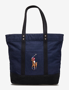 Canvas Big Pony Tote Bag - navy/black
