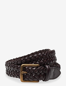 Braided Vachetta Leather Belt - braided belts - dark brown