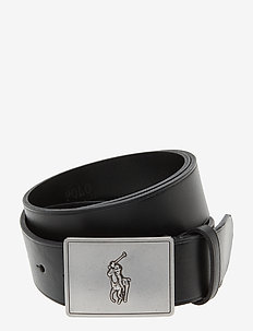 Pony Plaque Leather Belt - BLACK
