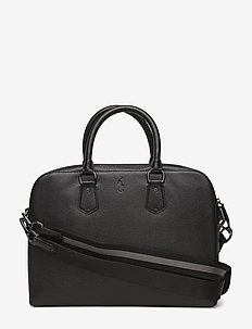 Pebbled Leather Briefcase - tietokonelaukut - black
