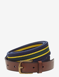 Woven Striped Belt - STRIPE-NAVY/YELLO