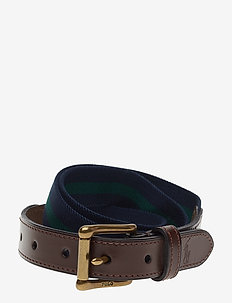 Leather-Trim Stretch Belt - FRENCH NVY/NW FRS