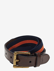 Leather-Trim Stretch Belt - FRENCH NVY/ORANGE
