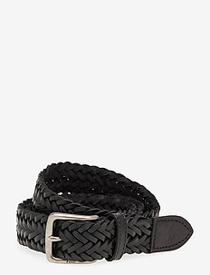 Braided Leather Belt - braided belts - black