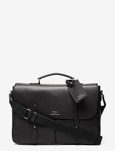 Leather Messenger Bag - bags - black